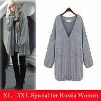 Plus big size sweater outerwear women loose cardigan fashion sweater