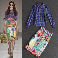 New Fashion 2015 Spring Summer Runway Women Plaid Print Blouses Long Sleve+National Print Vintage Knee Length Pencil Skirt(1Set)