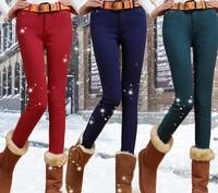 Women autumn winter pants calcas femininas 2014 new candy fleece warm leggings casual jeans plus size thick pencil trousers K24