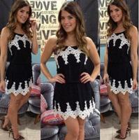 2014 new fashion black fashion short dresses black and white women black lace patchwork dress femininas vestido