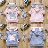 2014 Retail Children Clothing Cartoon Rabbit Fleece Outerwear girl fashion clothes/hooded jacket/Winter Coat roupa infantil