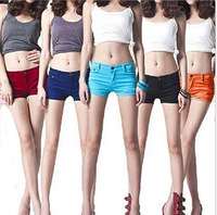 2014 New Candy Color Women Jeans Shorts Short Pants Summer Cool Casual Wear Plus Size Hot Shorts Pants Capris High Elastis