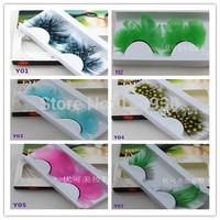 Free shipping 2 pairs feather false eyelashes unique feather fake eyelashes make up for party 36 styles for optional