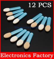 12PCS/Lot  Disposable Eye Shadow Applicator Short Clear Professional Handled Sponge Brush Makeup Cosmetic Tool