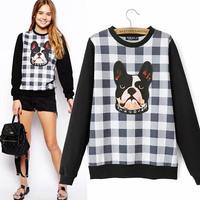 2014 Europe and head of new Super beauty fashion slim Plaid dog sweater