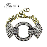 Vintage Jewelry Antique Silver Color Fashion Rhinestone Chain Bracelet for Women Christmas Gift Factory Price