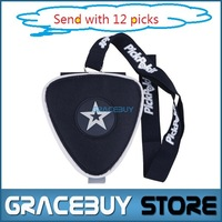 Black Triangle Wallet Bag With Guitar Portable Necklace Pick Holder, Bag Of Nylon Guitarra Pick Cases