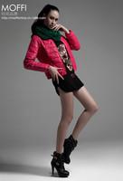 2014 New winter women fashion round collar short PU leather down jacket coat.