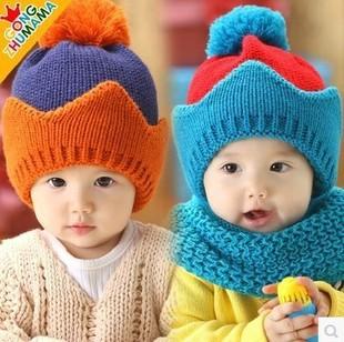 1pcs 2014 Fashion children baby hat winter warm knit peaked caps 5 colos 6-24months baby, cap around 46-50 cm(China (Mainland))