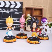 Anime Dragon Ball Z Super Saiyan Sun Goku Freeza Gotenks Majin Buu Action Figure Collectible Toy 4pcs/lot EMS Free Shipping