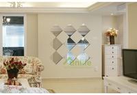 Funlife DIY Square Geometry Nursery Kids Room Decor Reflective Acrylic Mirror Wall Sticker Decals MS361261