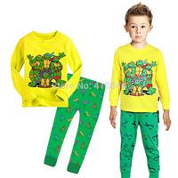 2015 Hot cartoon cotton children pajamas Teenage Mutant Ninja Turtles print kids sleepwear hot sale boys  homewear 6 sets lot