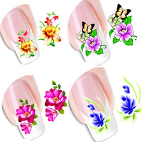 50sheets Japanese Watermark Water Transfer Styles DIY Nail Art Stickers Flower with Butterfly Tips Decals Nail Tools XF1051-1100