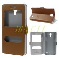 Original Doormoon Dual Window Genuine Leather Flip Case for Samsung Galaxy Mega 2 G7508