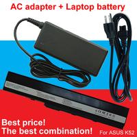 1pcs AC Adapter+1pcs laptop battery For Asus X52D X52DE X52DR X52F X52J X52JB X52JC X52JE X52JG X52JK X52JR X52N A32-K52 A32-K42