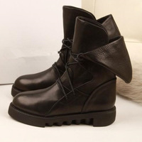 Ladies Lace Up Military Martin Boots 2014 Fashion Designer Fur Lined Short Boots Genuine Leather Women Winter Snow Boots