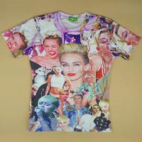 2014 newest Raisevern Miley Cyrus patchwork smoking novelty print T-shirt women men short sleeve t shirt vogue tops tees tshirt