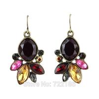 Brincos Bijuterias Imitation Gemstone Leaf Shape Geometric Earrings Fashion New 2014 Designer Famous Brand Earrings