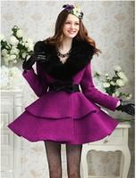 2015 New Fall Winter Women's Wool Coat Black Rabbit Hair Fur Collar Slim Cute Lady's Woolen Outerwear Mid-long Jackets A186