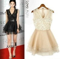 Multi-layer vintage Greek Style Elegant Sequined Lace Party Dress Mori Lolita Style Champagne Color Brandy Melville Women Winter