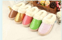 Free shipping NEW winter children indoor slippers,kids anti-slip home shoes,PU paint warm cotton shoes,boys&girls home slippers