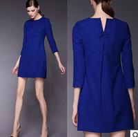 New 2014 Casual dresses Fashion women clothing winter solid vestidos femininos autumn casual dress S-3XL Plus Size dress Aa99