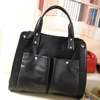2014 women's handbag preppy style handbag canvas bag black big bags shoulder cross-body bag