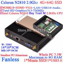 Baytrail desktop virtualization mini pcs with Intel Celeron N2810 Bay Trail M dual core 2.0Ghz CPU 4G RAM 64G SSD