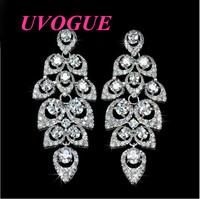 New top Fall Leaf in Wind color/champange AAA Swiss Cubic Zircon Chandelier bridal stud Earring for women (UVOGUE UE0053)