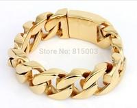 166g New wholesale men's Titanium all gold plated bracelet rough temperament of fashion jewelry bracelet