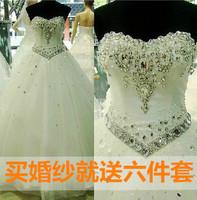 2014 winter rhinestone long trailing wedding dress lace strap wedding dress