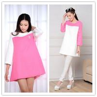 Free Shipping New 2014 Fashion Pregnant Women Dress Temperament Loose Plus Size O-Neck Long Sleeve Splice Color Dress 206