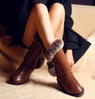 Loi . color winter snow boots fox fur genuine leather female boots gaotong wk958