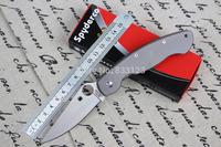 HK Free Shipping Spyderco C36TIFP Titanium handle CPM-S30V Blade Folding Knives Ti-Mil Titanium Military Camping knife tools
