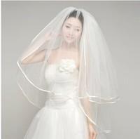 Free shipping! Elegant ribbon border white bridal veil for wedding