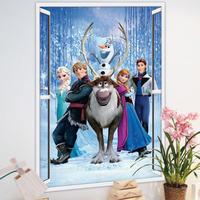 2014 New 3D Window Wall Sticker Frozen Viny Art Mural Home Decal Kids Room Decor 3d Wall Decals Art Of Frozen For kids room