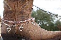 BB-017 60pc/lot free shipping  toggle buckle handmade beaded heart charm women layered boot bracelet