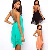 Backless Dress sexy belt metal buckles cross women dresses sleeveless pure color 2014 Summer Chiffon Dress Celebrity Nightclubs