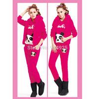 2015 winter casual fashon crop top PANDA RURU HOODIES 3 piece sets womens costume conjunto saia e blusa tracksuits clothing