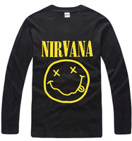 Destro round neck T-shirt male 100% long-sleeve cotton band nirvana men's clothing autumn 092