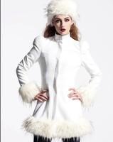 2014 winter new women's round neck long section of women's woolen Puff plush hem coat free shipping