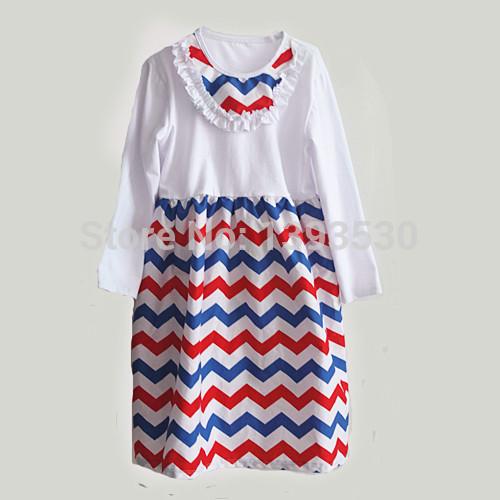 Kaiya Boutique children zig zag clothing kids patriotic girls dress baby chevron dresses Wholesaler 5pcs/lot Free Shipping(China (Mainland))