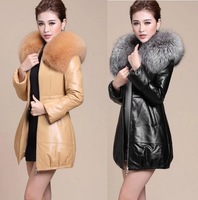 2014 New winter coat women Fashion temperament Large Fox Fur Collar slim winter jacket Plus size warm leather jacket coat