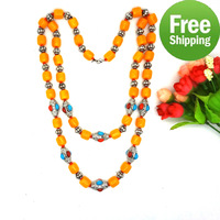 For Sale 2014 Fashion Tibetan Vintage Jewelry jewellery For Women Men Party Gift 2 rows long chain vintage necklace colar