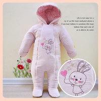2014 New Arrival Original Brand Baby Gilrs Footies Pink Rabbit Cartoon Designer Infant Snowsuit Winter Coveralls With Hoodies