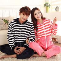 2014 lovers sleepwear flannel stripe Hooded Zipper coral fleece hooded male women's lounge set male female pajamas suit