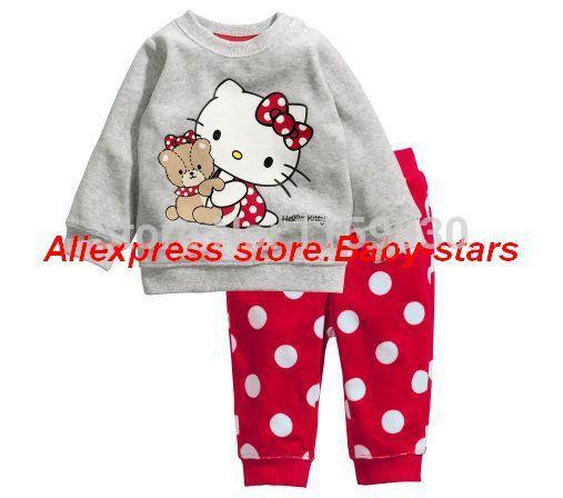 Cartoon Hello Kitty Kids cotton pajama sets Long Sleeves pyjama Baby clothing Girl clothes 2-7 age sleepwear Professional Store(China (Mainland))