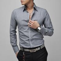 T1181 2014 HOT PROMOTION New Mens Casual Slim Fit shirt Men's Long sleeve patchwork camisas Autumn Korean Men dress shirts T1181