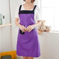 Free Shipping 2014 New Fashion Purple Apron Kitchen Aprons Waterproof Cooking Apron Kitchen Aprons