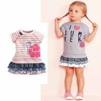 2014 New Summer Fashion Striped Tortoise Baby Girls Dress Princess Girls Dresses Mini 2 Colors 6 pcs / lot 1359